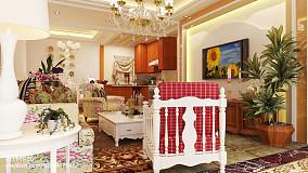 面积98平美式三居客厅欣赏图