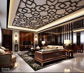 热门面积95平中式三居客厅装修效果图