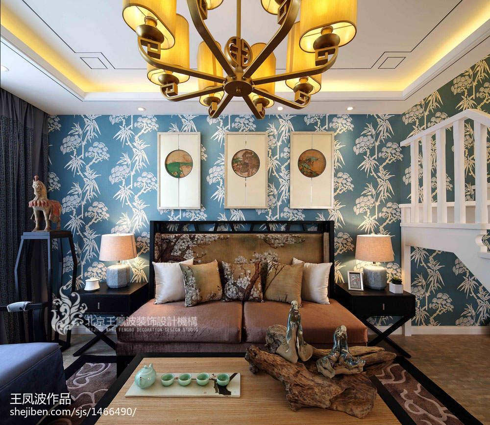 2018客厅中式装修实景图片大全样板间中式现代家装装修案例效果图
