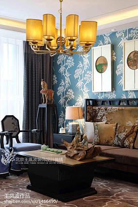 2018中式客厅实景图片大全样板间中式现代家装装修案例效果图