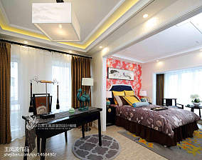 温馨313平中式样板间卧室布置图样板间中式现代家装装修案例效果图