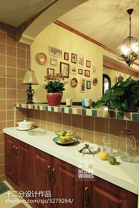 2018精选97平米三居厨房美式实景图片欣赏81-100m²三居美式经典家装装修案例效果图