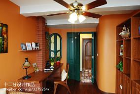 精选91平米三居书房美式实景图81-100m²三居美式经典家装装修案例效果图
