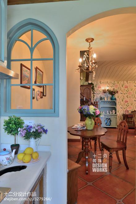 温馨77平田园复式餐厅装修美图厨房