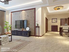 2018精选面积107平中式三居客厅装修欣赏图片151-200m²三居中式现代家装装修案例效果图