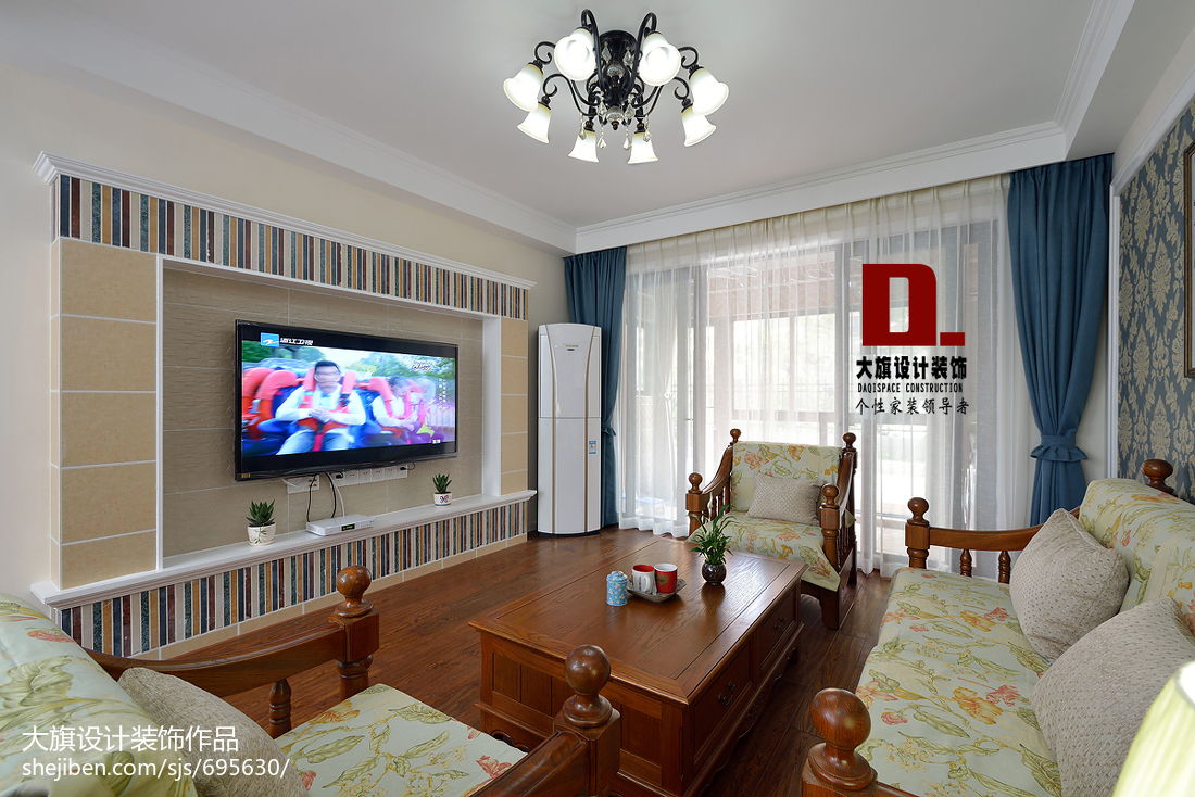 美式田园客厅电视墙装修图片功能区美式经典功能区设计图片赏析