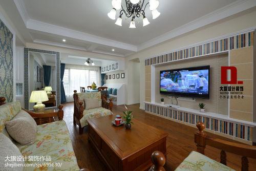 平米四居客厅美式效果图客厅电视背景墙四居及以上美式经典家装装修案例效果图