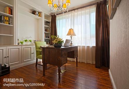 热门面积104平美式三居书房效果图121-150m²三居美式经典家装装修案例效果图