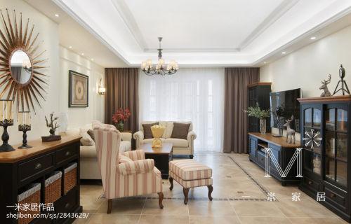 精致238平美式四居实景图片客厅窗帘201-500m²家装装修案例效果图