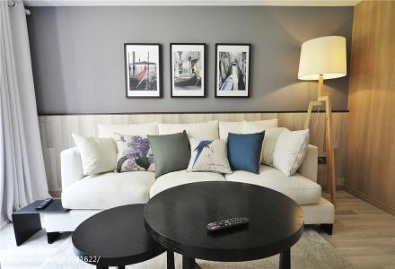 2018面积74平小户型客厅现代装饰图片大全一居现代简约家装装修案例效果图