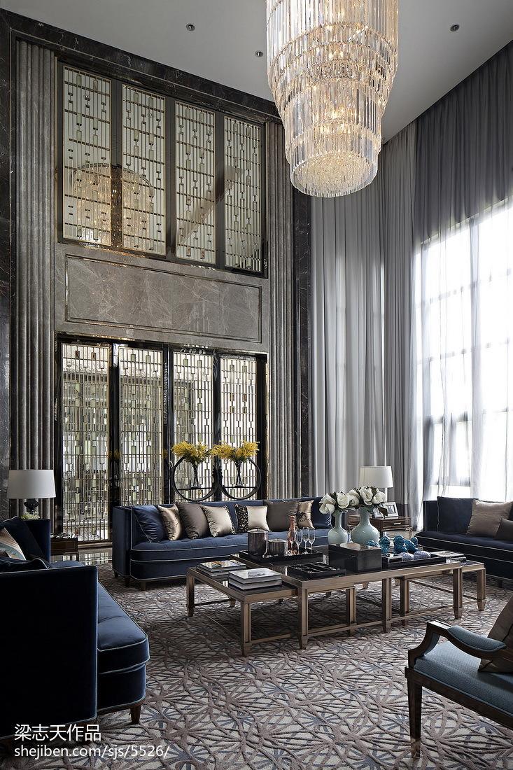 别墅混搭风格客厅装修样板间设计客厅潮流混搭客厅设计图片赏析