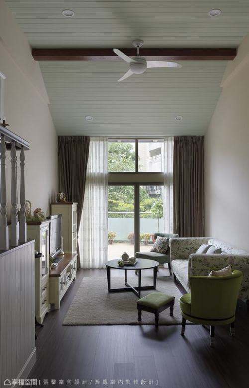 客厅功能区窗帘101-120m²美式田园家装装修案例效果图