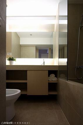现代小卫生间浴室柜效果图