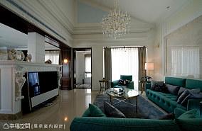 精美125平米美式别墅客厅装修实景图片欣赏