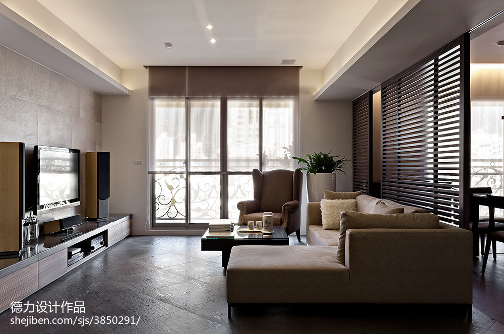 现代时尚风格客厅隔断设计效果图