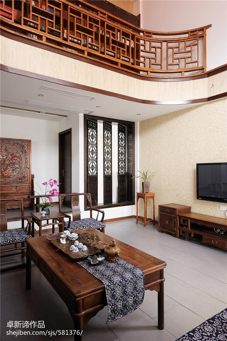 平米中式复式客厅实景图客厅中式现代客厅设计图片赏析