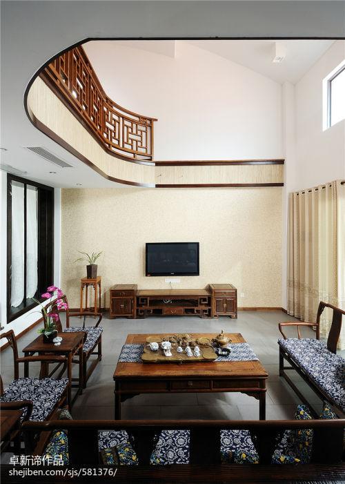 精选中式复式客厅实景图片客厅电视背景墙201-500m²复式中式现代家装装修案例效果图