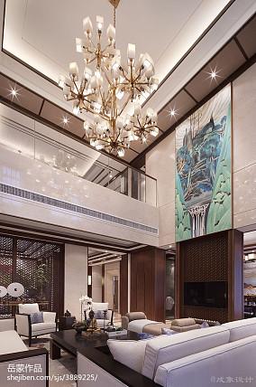2018精选客厅中式装修设计效果图片样板间中式现代家装装修案例效果图
