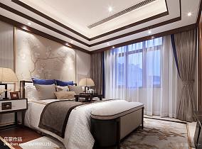 2018中式卧室欣赏图片大全样板间中式现代家装装修案例效果图