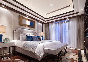 2018卧室中式装修设计效果图片样板间中式现代家装装修案例效果图