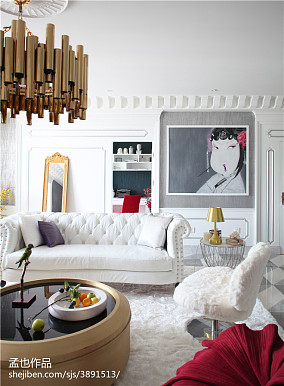 面积133平别墅客厅混搭装修设计效果图片