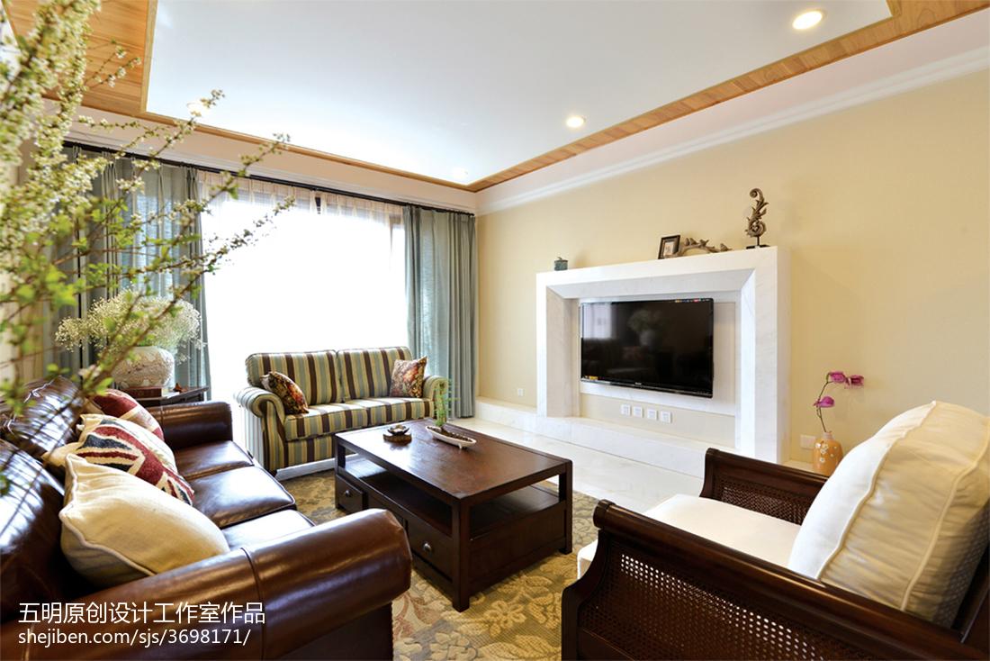 四居美式客厅电视墙装修设计客厅美式经典客厅设计图片赏析