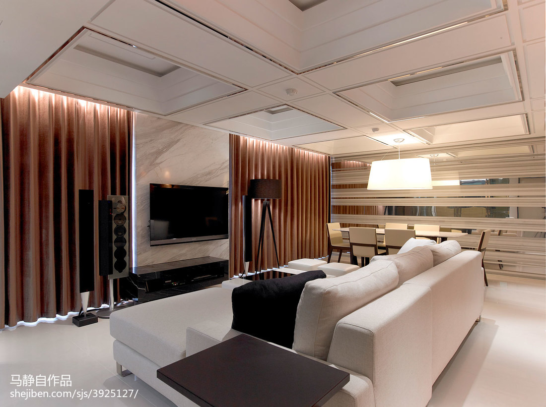 三居室混搭客厅电视背景墙装修效果图