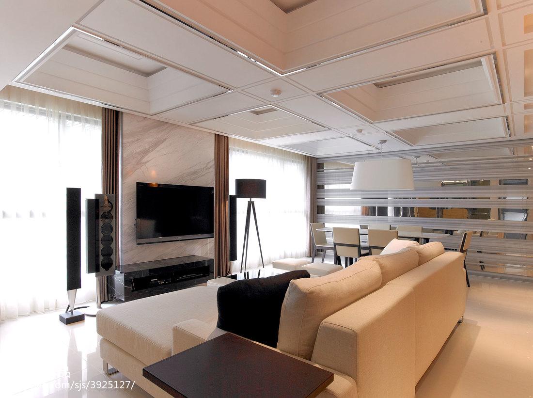 三居室混搭客厅电视墙装修效果图