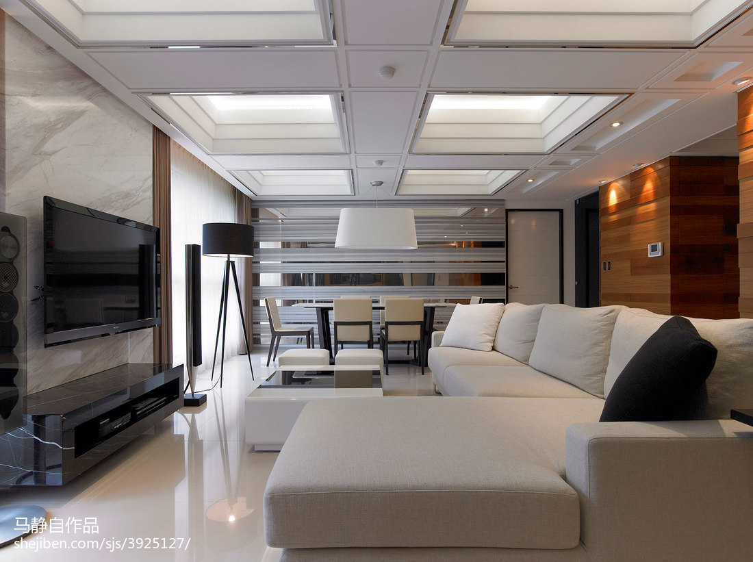 三居室混搭客厅吊顶装修效果图