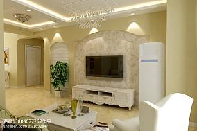 热门80平米田园小户型客厅装修效果图片欣赏
