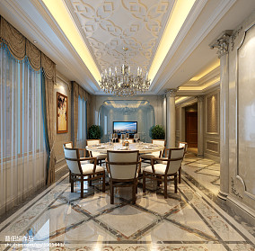 130平方欧式别墅餐厅效果图片欣赏别墅豪宅欧式豪华家装装修案例效果图