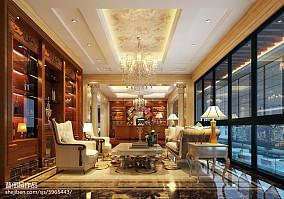 精选126平米欧式别墅书房效果图别墅豪宅欧式豪华家装装修案例效果图