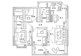 2018100平米三居休闲区田园设计效果图