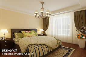 2018精选面积89平美式二居卧室装修设计效果图片大全