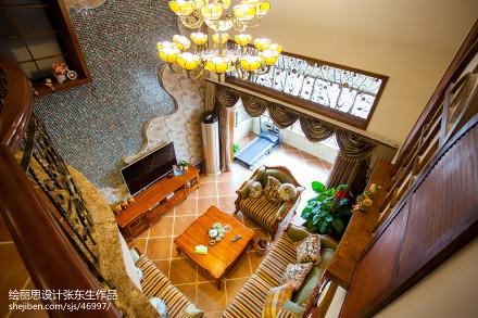 面积141平复式客厅田园装修效果图片