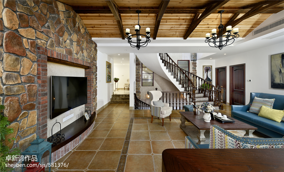 别墅美式客厅电视墙装修设计客厅美式经典客厅设计图片赏析