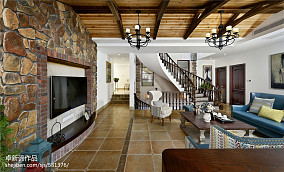 别墅美式客厅电视墙装修设计