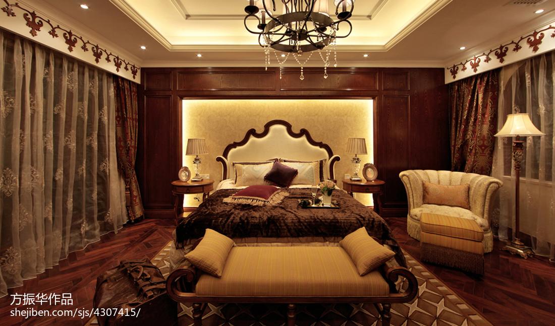 现代中式卧室窗帘设计