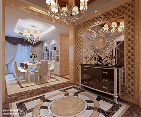 浪漫125平欧式三居玄关装修案例三居欧式豪华家装装修案例效果图