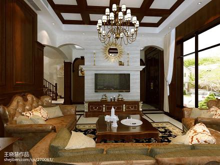 客厅吊灯装饰别墅豪宅美式经典家装装修案例效果图