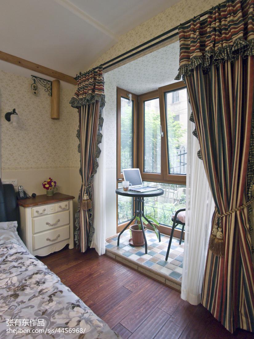 精致83平地中海二居案例图卧室窗帘地中海卧室设计图片赏析