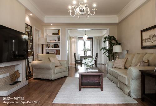 温馨130平美式三居实景图功能区木地板121-150m²三居其他家装装修案例效果图