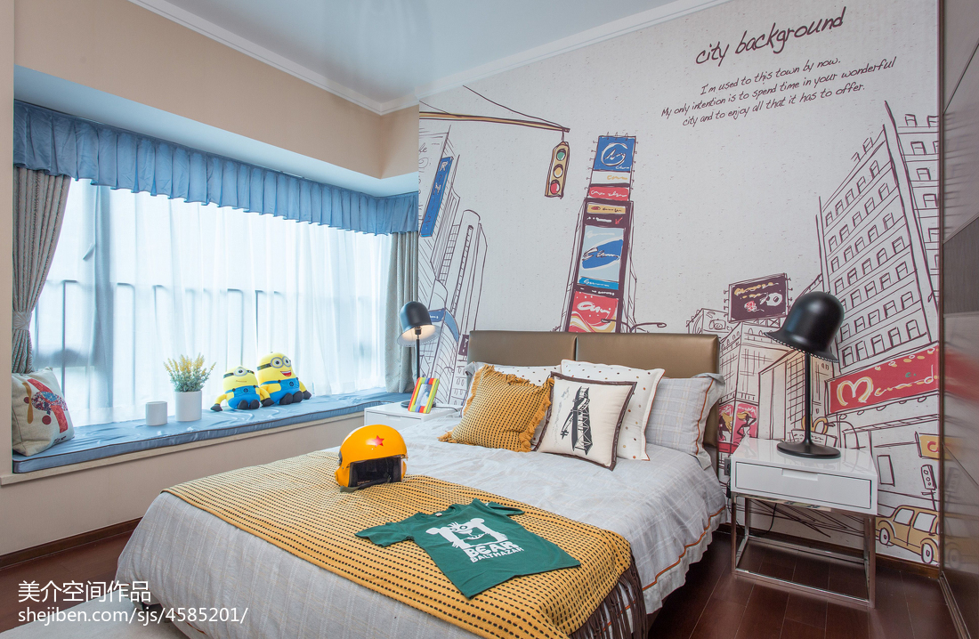 时尚混搭风儿童房飘窗样板房图片卧室潮流混搭卧室设计图片赏析