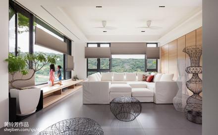 2018精选面积117平别墅客厅现代装修设计效果图片欣赏