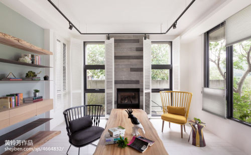 平米现代别墅书房装饰图片欣赏60m²以下现代简约家装装修案例效果图