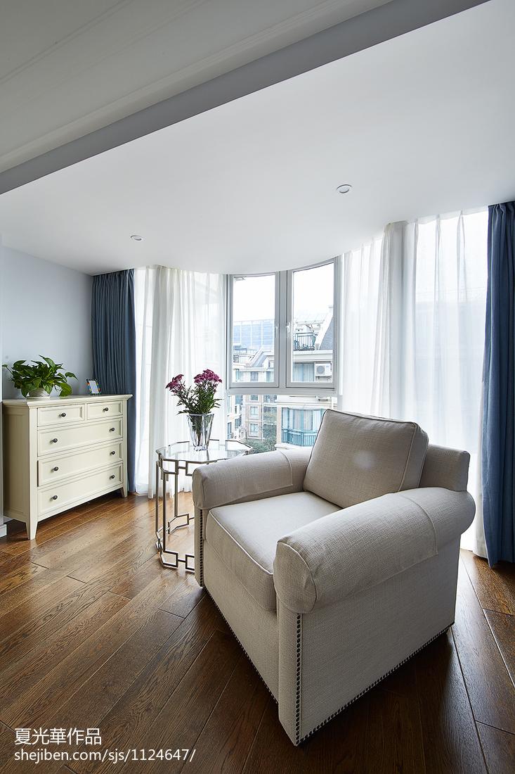 素颜简美复式阳台窗帘装修效果图客厅美式经典客厅设计图片赏析