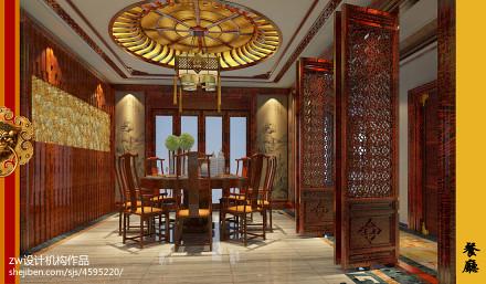 优雅925平中式别墅餐厅装修案例厨房1图