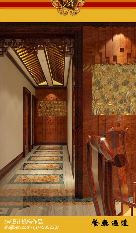 大气742平中式别墅过道装修设计图功能区1图