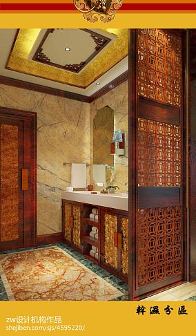精致476平中式别墅卫生间装饰美图卫生间中式现代设计图片赏析