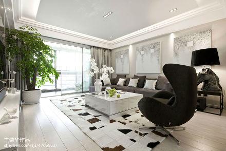 2018精选135平方四居客厅现代装修实景图片大全121-150m²四居及以上现代简约家装装修案例效果图